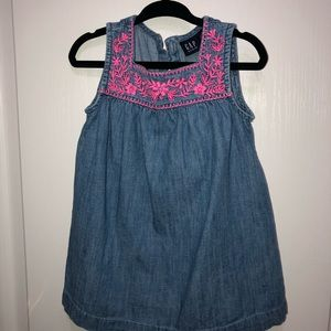 Toddler girl Denim dress with pink embroidery 2T
